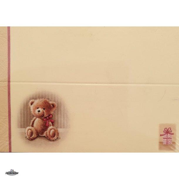 Barnedåb bordkort-Sangkort Bamse Rosa