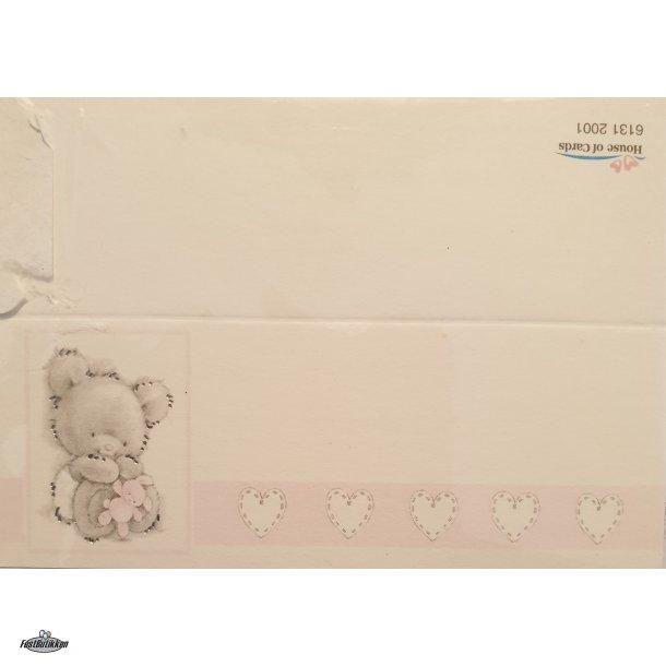 Barnedåb bordkort-sangkort Bamse Lyserød