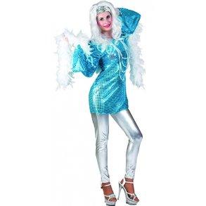 d200fccd8923 Discoklänning med paljetter til kvinnor, i tyrkos.