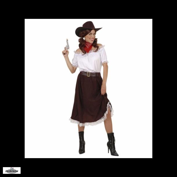 Cowboy nederdel med slids i siden samt bælte