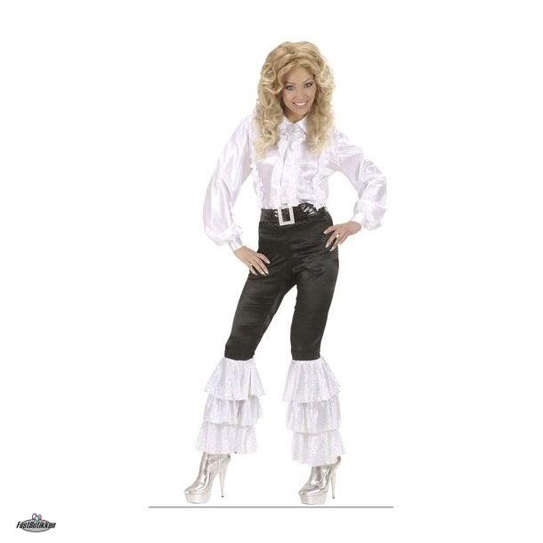 Disco bukser med flæser og pailletter, sort-hvid