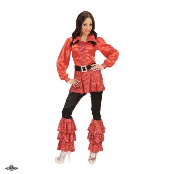 Disco bukser med flæser og pailletter,sort-rød