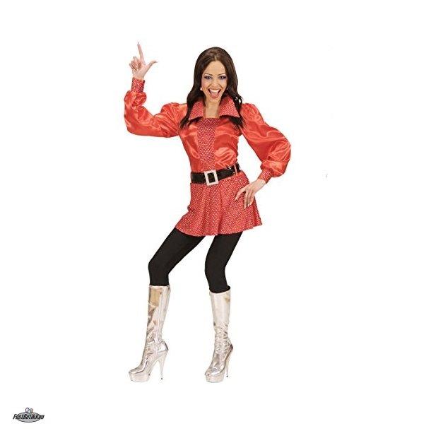Disco Rød bluse med pailletter samt bælte