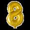 Folie ballon TAL  på pind i GULD 41 cm