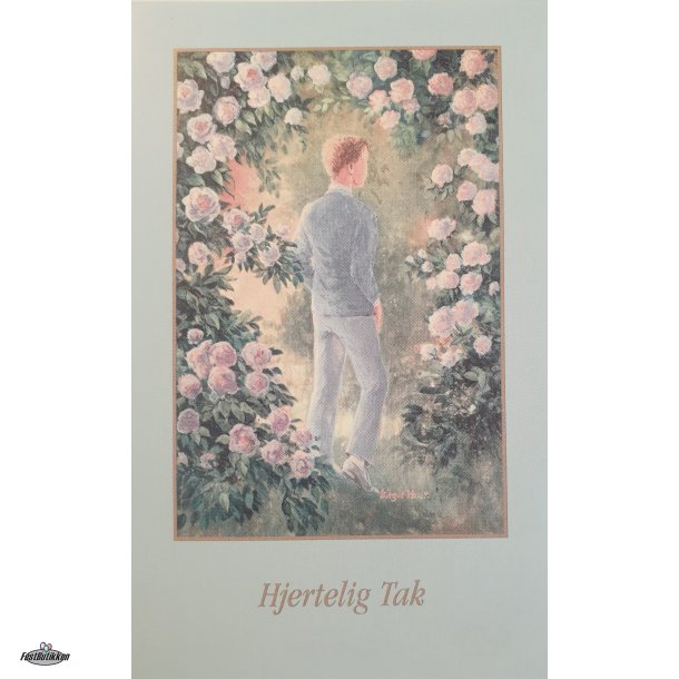 Takkekort - Konfirmand i rosenhave